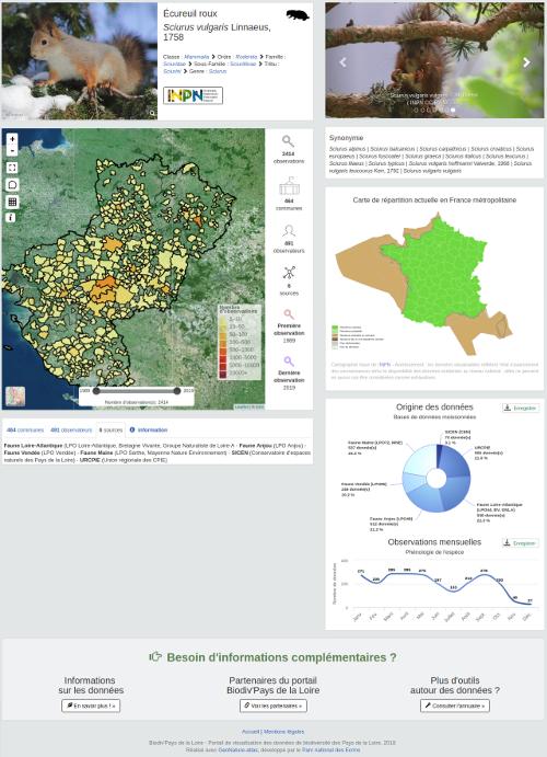 Biodiv Pays de la Loire fiche espèces territoires