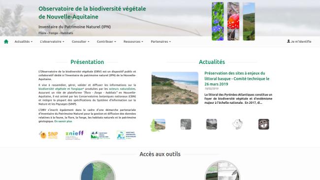 plateforme thématique SINP Page d'accueil de l'OBV