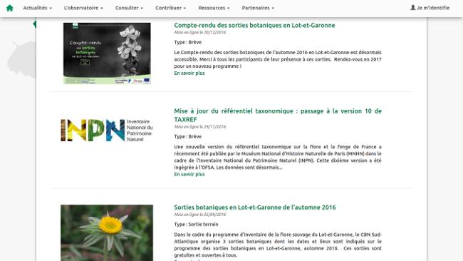 plateforme thématique SINP Liste des actualités sur l'OBV
