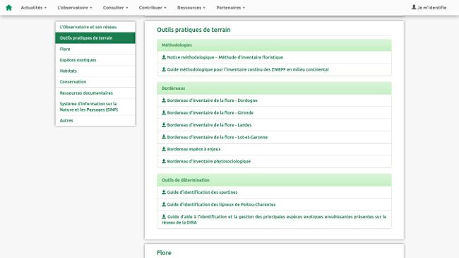 plateforme thématique SINP Page de téléchargement des ressources sur l'OBV