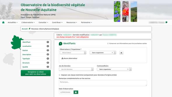 Formulaire de saisie des relevés phytosociologiques de l'OBV : identification
