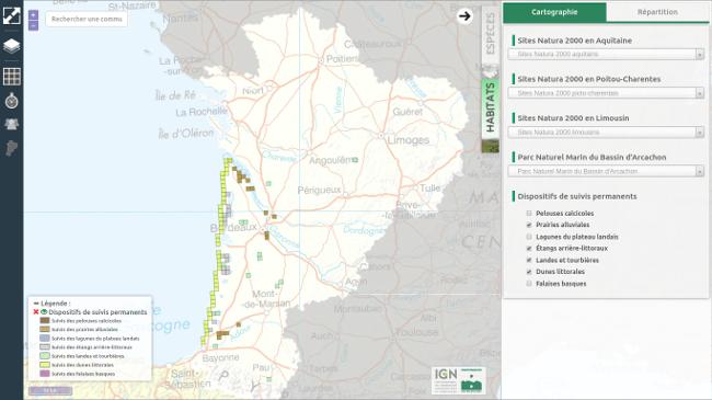 Cartes de répartition de la végétation Cartes interactives de l'OBV : dispositifs de suivis permanents