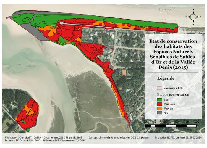 Valorisation cartographique des données d'habitats naturels Cartographie de l'état de conservation des habitats de Sables-d'Or et de la Vallée Denis