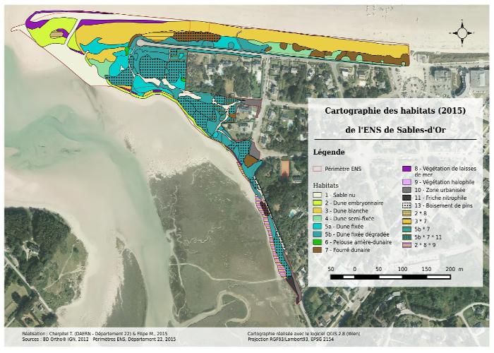 Valorisation cartographique des données d'habitats naturels Cartographie des habitats de Sables-d'Or