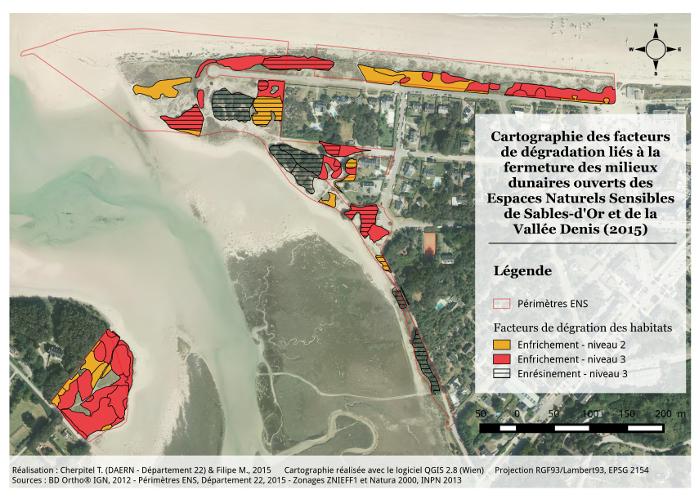 Valorisation cartographique des données d'habitats naturels Cartographie des facteurs de dégradation de Sables-d'Or