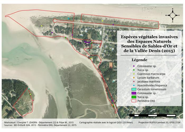 Valorisation cartographique des données d'habitats naturels Cartographie des espèces végétales invasives de Sable-d'Or